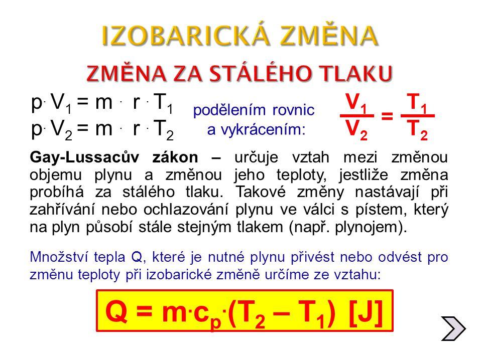 Q = m.cp.(T2 – T1) [J] IZOBARICKÁ ZMĚNA ZMĚNA ZA STÁLÉHO TLAKU
